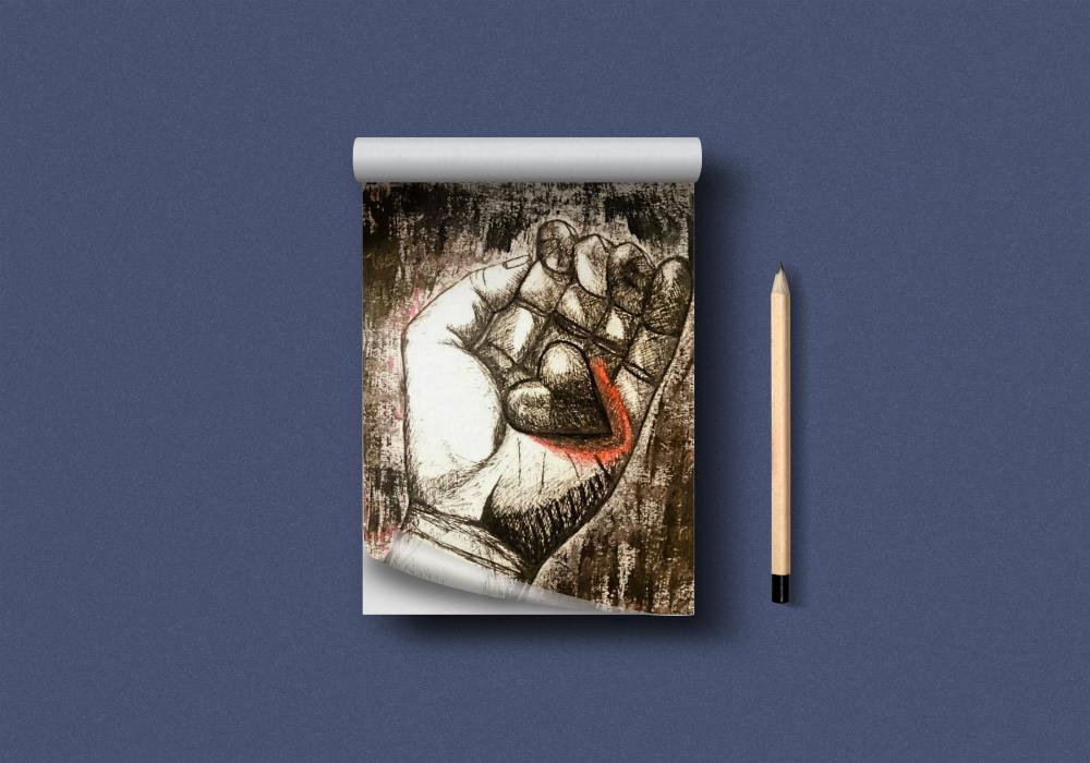 Zeichnung Hand (Fineliner und Acryl)