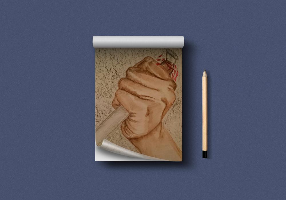 Zeichnung Hand (Bunt- und Bleistift)