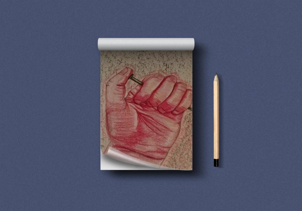 Buntstiftzeichnung Hand